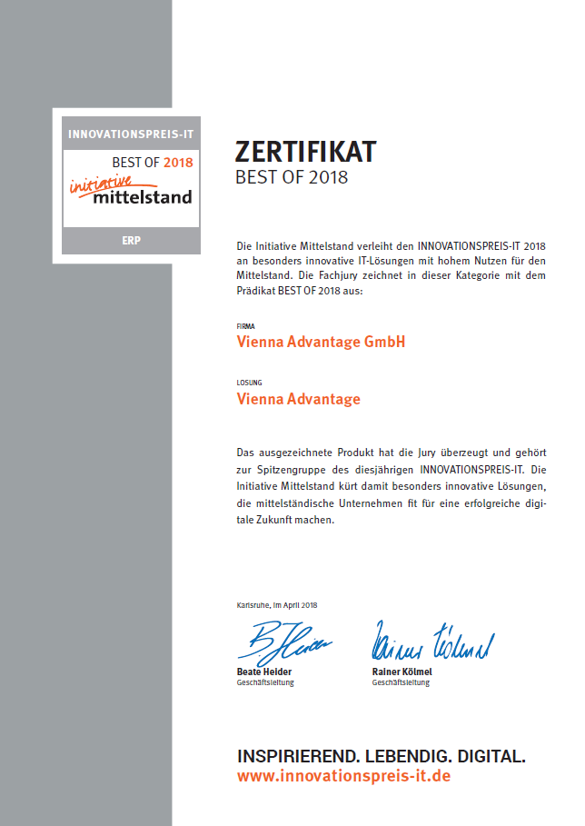 VIENNA Advantage gets award